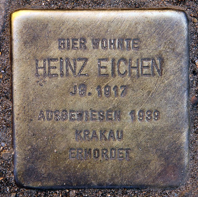 Photo of Heinz Eichen brass plaque