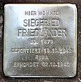 Stolperstein Helmstedter Str 10 (Wilmd) Siegfried Friedländer2.jpg