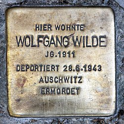 Photo of Wolfgang Wilde brass plaque