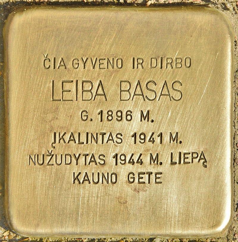 Stolperstein für Leiba Basas (Kaunas).jpg
