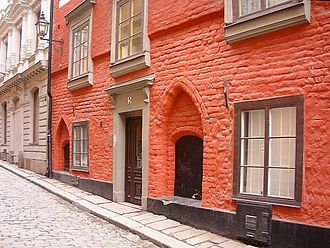 History of Stockholm - During the late Middle Ages, most buildings were made of brick, which gave the city its character. Some prominent façades were, however, painted red to accentuate their importance — like the restored façade of 5, Stora Gråmunkegränd, also featuring several other aesthetic details.