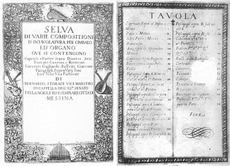 Bernardo Storace - Title page and table of contents from Selva di varie compositioni