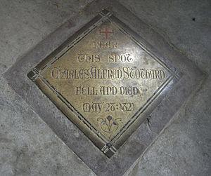 Charles Alfred Stothard - Memorial brass plaque to Charles Alfred Stothard, Bere Ferrers church, Cornwall, floor of NE corner of chancel