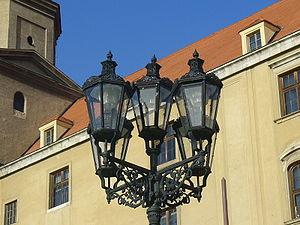Street light in front of Bratislava Castle. Br...