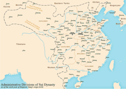 Administrative division of the Sui dynasty circa 610 AD