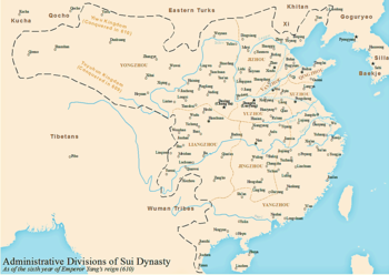 Administrative Division of Sui Dynasty circa 610 AD