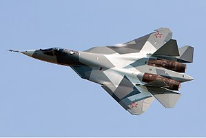 Sukhoi Su-57 - A T-50 prototype for the Su-57 flies at the MAKS 2011 air show