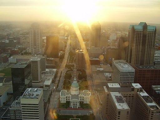 Sun glare St Louis downtown