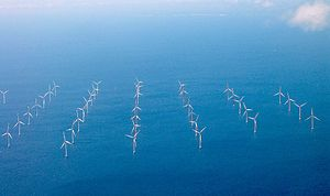 English: 's wind turbines in the Sound near Co...