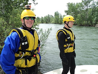 Swift water rescue - Some swift water rescue equipment —note the helmet-mounted video camera.
