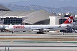 Swiss International Air Lines, Airbus A340-313, HB-JMO - LAX (18905908904).jpg