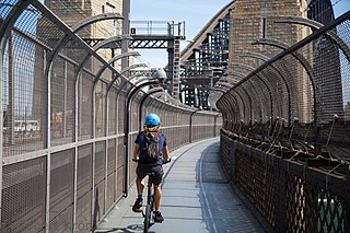 Sydney Harbour Bridge cycleway bike path in Sydney, New South Wales, Australia