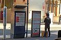 Sydney Light Rail Opal reader and former ticket machine.JPG