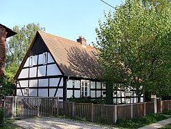 Historic timber-framed house in Krzekowo