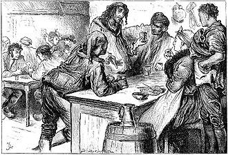 Madame Defarge - Illustration by Fred Barnard of the Wine-Shop in St. Antoine; Madame Defarge is seated with her knitting, her husband Ernest Defarge standing behind her