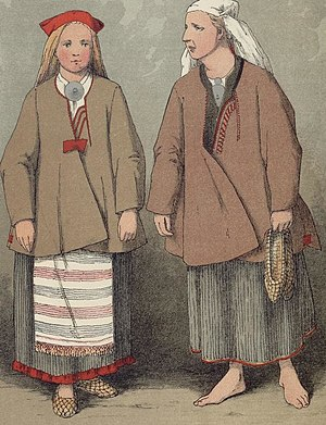 Culture of Finland - A peasant girl and a woman in traditional dress from Ruokolahti, eastern Finland, as depicted by Severin Falkman in 1882