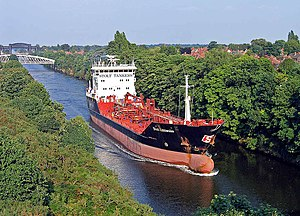 Manchester Ship Canal - Stolt Kittiwake heading toward the Mersey Estuary, 2005