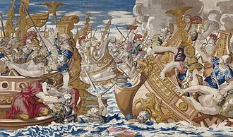 Battle of the Hellespont - Image: Tapestry showing the Sea Battle between the Fleets of Constantine and Licinius cropped