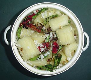 Dish (food) - Baked Tapioca root in a pot