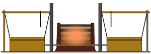 Tatara (furnace) - The structure of a tatara. On the two sides of the furnace are visible two bellows