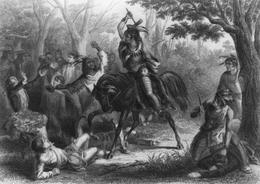 Tecumseh si trova tra un guerriero armato e prigionieri indifesi