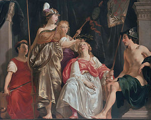 Museum De Lakenhal - Minerva Crowns the Maid of Leiden, one of a series of three grand paintings for the Lakenhal in 1650 by Abraham Lambertsz van den Tempel.