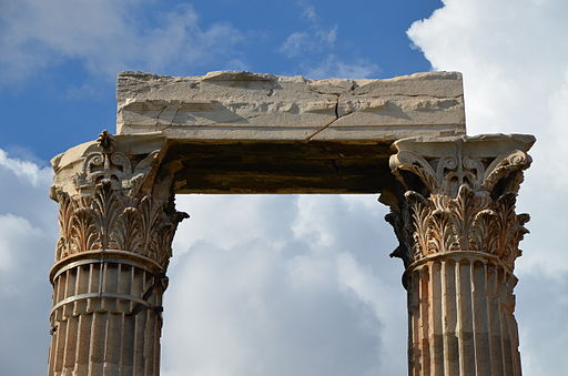 Temple of Olympian Zeus, detail of the Corinthian capitals and architrave, Athens, Greece (14015990445)