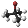 Ball and stick model of tert-butyl bromide