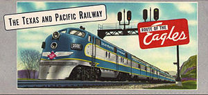 Texas Eagle (MP train) - A Texas and Pacific EMD E7 leads an Eagle in this 1950s ticket cover.