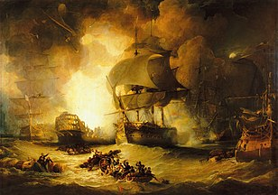 George Arnald's The Destruction of 'L'Orient' at the Battle of the Nile, 1 August 1798; 1825-7.[125]