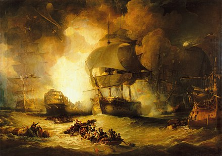 Orient explodes at the Nile. HMS Swiftsure is in the centre of the picture, sails billowing in the blast, and riding the wave caused by the force of the explosion. The Battle of the Nile.jpg