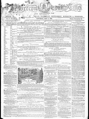 Brecon - Front page of the earliest surviving copy on The Brecon County Times, 5 May 1866