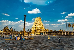 Chennakeshava Temple, Belur - The entrance gopuram and courtyard of Chennakeshava temple at Belur