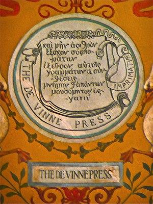 Theodore Low De Vinne - The De Vinne Press printers mark, Thomas Jefferson Building, Library of Congress