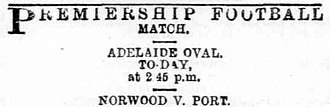 1889 SAFA Grand Final - Image: The Express and Telegraph (Adelaide) 5 October 1889 Premiership football match Norwood Port shortened