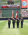 The Georgia State Defense Force color guard presents the colors at Turner Field.jpg