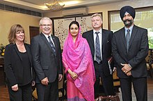 The Minister of Agriculture and Agri-Food of Canada, Mr. Gerry Ritz called on the Union Minister for Food Processing Industries, Smt. Harsimrat Kaur Badal, in New Delhi on September 22, 2014.jpg