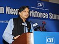 The Minister of State for Human Resource Development, Dr. Shashi Tharoor addressing at the inauguration of the Gen Next Workforce Summit 2013, in New Delhi on August 23, 2013.jpg