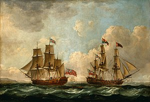 Edward Knowles (Royal Navy officer) - The Peregrine (later renamed the Royal Caroline) in Two Positions off the Coast, 1766 by John Cleveley the Elder