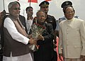 The President, Shri Pranab Mukherjee being received by the Governor of Bihar, Shri Devanand Konwar and the Chief Minister of Bihar, Shri Nitish Kumar on his arrival, at Patna Airport on October 03, 2012.jpg