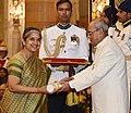 The President, Shri Pranab Mukherjee presenting the Padma Shri Award to Kumari Nivedita Raghunath Bhide, at a Civil Investiture Ceremony, at Rashtrapati Bhavan, in New Delhi on March 30, 2017.jpg