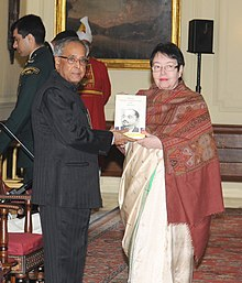 "The President, Shri Pranab Mukherjee receiving the first copy of the book ""Netaji Subhas Chandra Bose and Germany"" from Smt. Anita Bose, the daughter of Netaji Subhas Chandra Bose, in New Delhi on February 06, 2013.jpg"