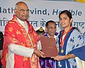The President, Shri Ram Nath Kovind presenting the medal to a student, at the 7th Convocation of the Indian Institute of Technology (IIT) Hyderabad, at Sangareddy District, in Telangana.JPG