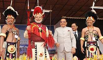Nagaland - Indian Prime Minister Narendra Modi with Naga people in Nagaland, December 2014