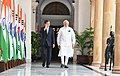 The Prime Minister, Shri Narendra Modi with the President of the Republic of South Korea, Mr. Moon Jae-in, at Hyderabad House, in New Delhi on July 10, 2018 (1).JPG