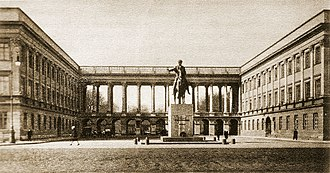 Biuro Szyfrów - General Staff building (Saxon Palace), destroyed in World War II. In the photo, the arcade shelters the Tomb of the Unknown Soldier, before which stands Thorvaldsen's equestrian statue of Prince Józef Poniatowski.  In this building, from 1932, the Cipher Bureau broke the German plugboard military Enigma.