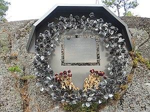 Bommersvik - Monument on Bommersvik of Victims of Utoya massacre in 2011.