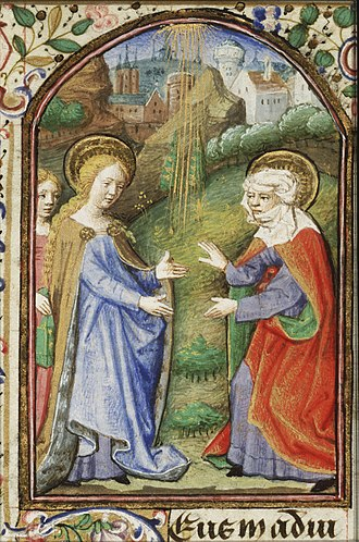 Dunois Master - Image: The Visitation Mary, accompanied by a maid carrying a book, meets St. Elisabeth Book of hours Simon de Varie KB 74 G37 053r min