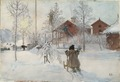 The Yard and Washhouse. From A Home (26 watercolours) (Carl Larsson) - Nationalmuseum - 24217.tif