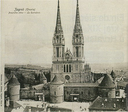 Zagreb Cathedral end of 19th century The Zagreb Cathedral renovated according to designs of Hermann Bolle (end of 19 century).jpg